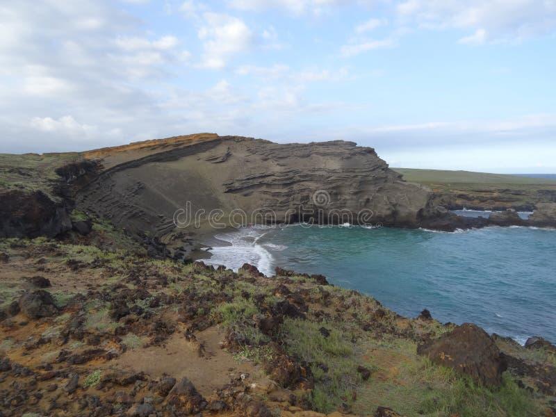 绿色沙子海滩-大岛 免版税库存图片
