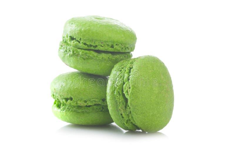 绿色法国macarons 免版税库存图片