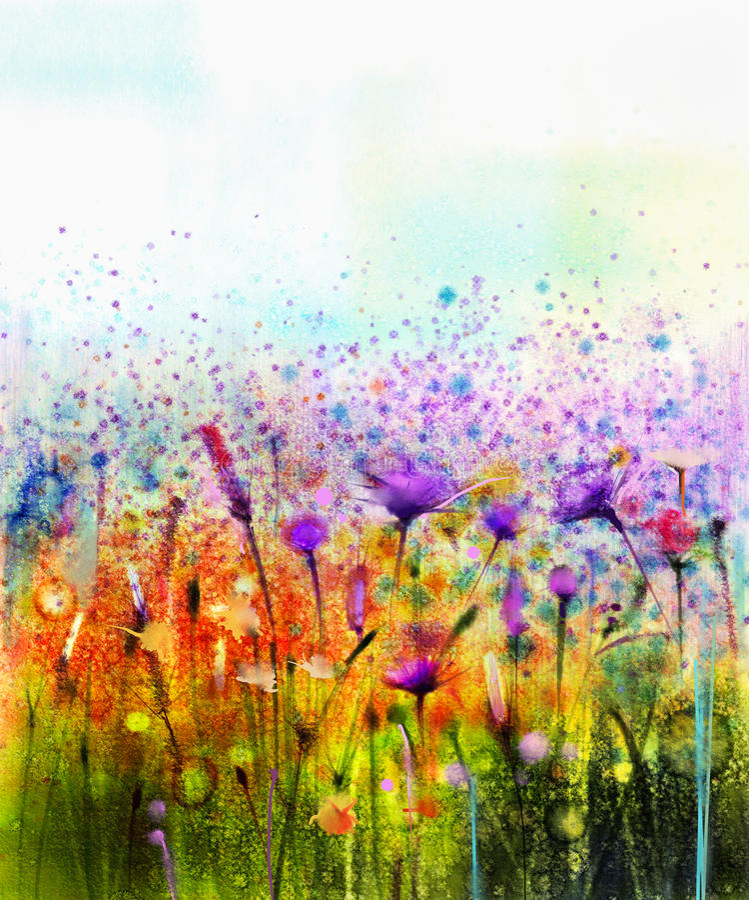 绘紫色波斯菊花、矢车菊,紫罗兰色淡紫色,白色和橙色野花的抽象水彩 向量例证