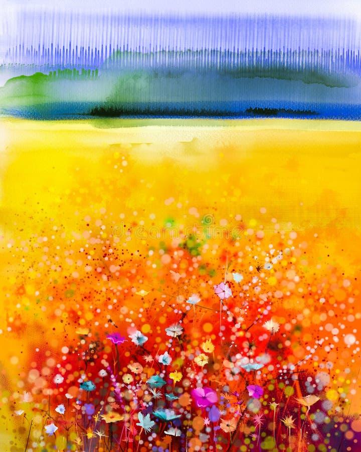 绘紫色波斯菊花的抽象水彩 库存例证