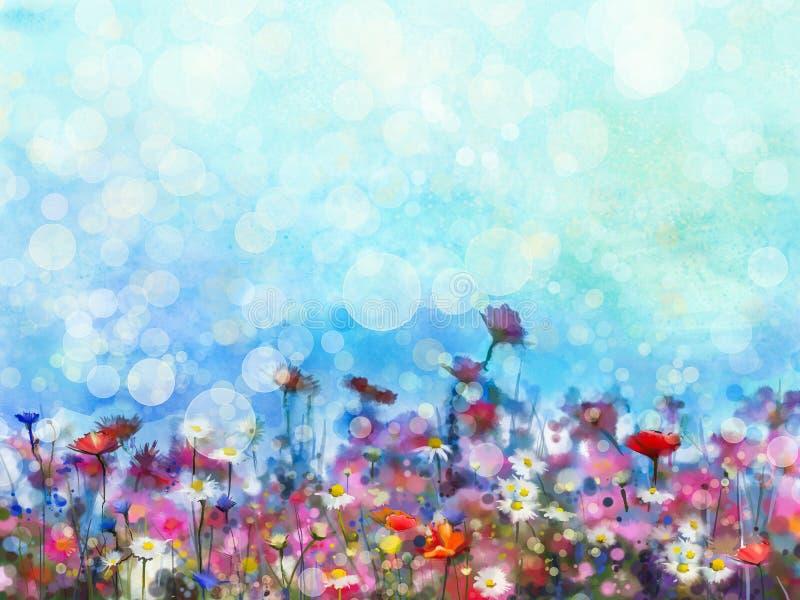 绘紫色波斯菊花的水彩 皇族释放例证