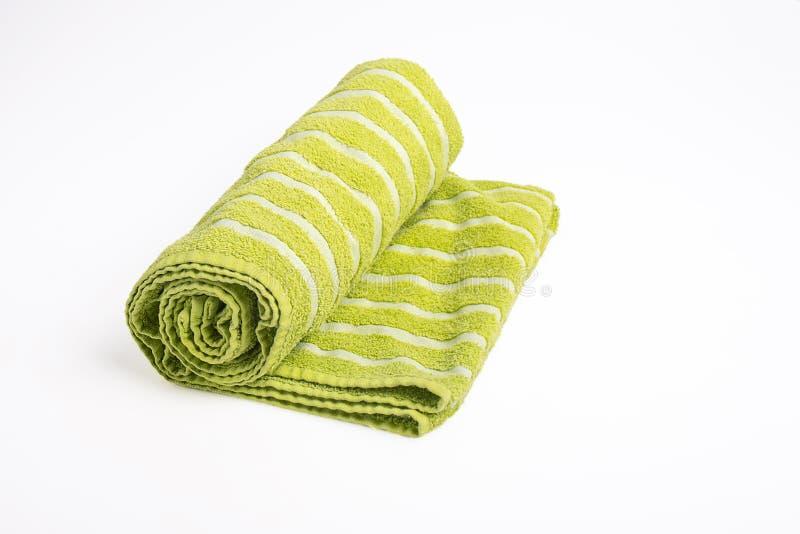 绿色海滩毛巾 库存图片