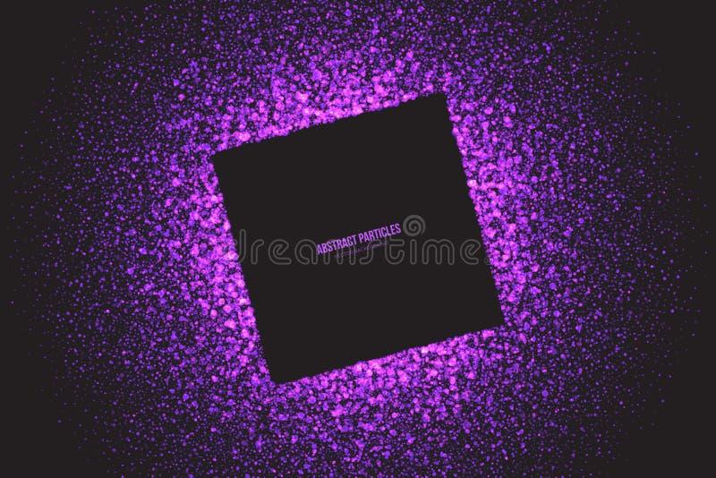 紫色淡光发光的圆的微粒传染媒介背景 向量例证
