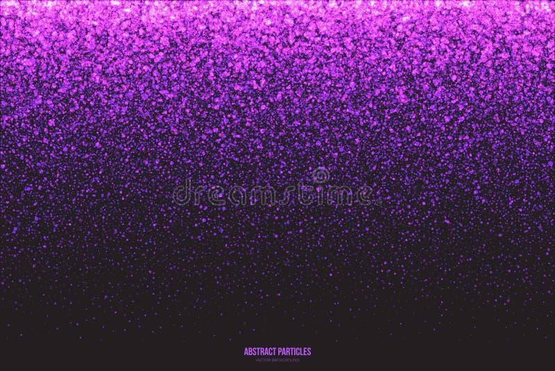紫色淡光发光的圆的微粒传染媒介背景 库存例证