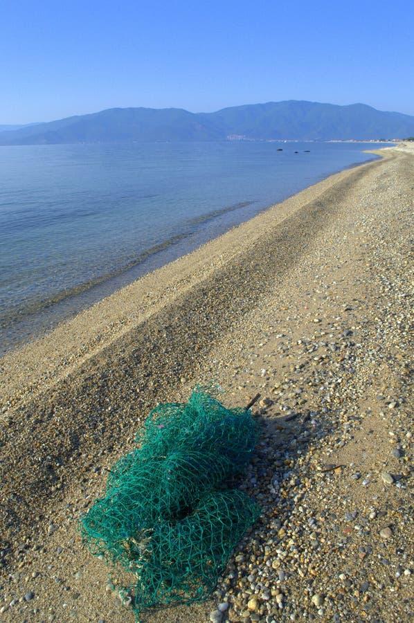 绿色渔网在长滩 图库摄影