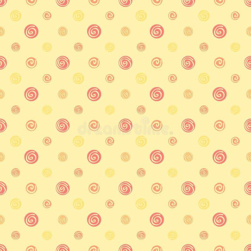 黄色温暖的抽象圆点织品无缝的样式 皇族释放例证