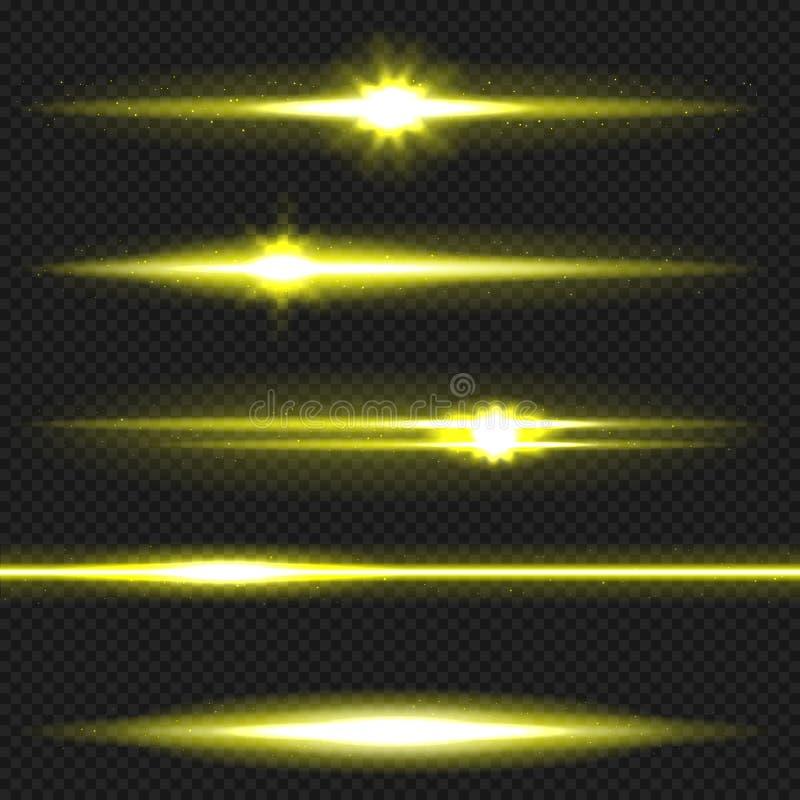 黄色激光束组装 库存例证