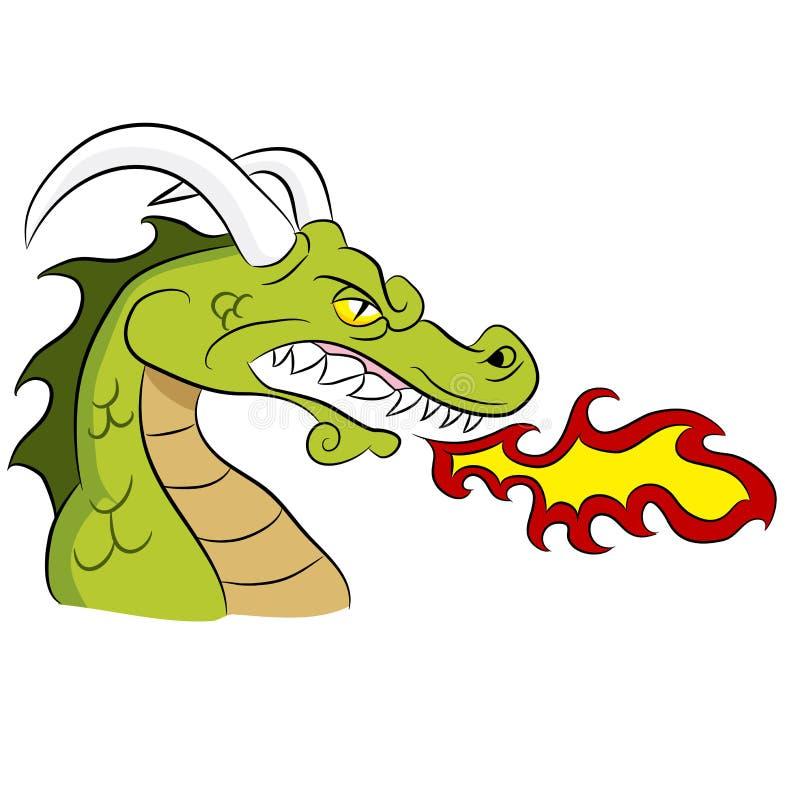 绿色火呼吸的龙 皇族释放例证