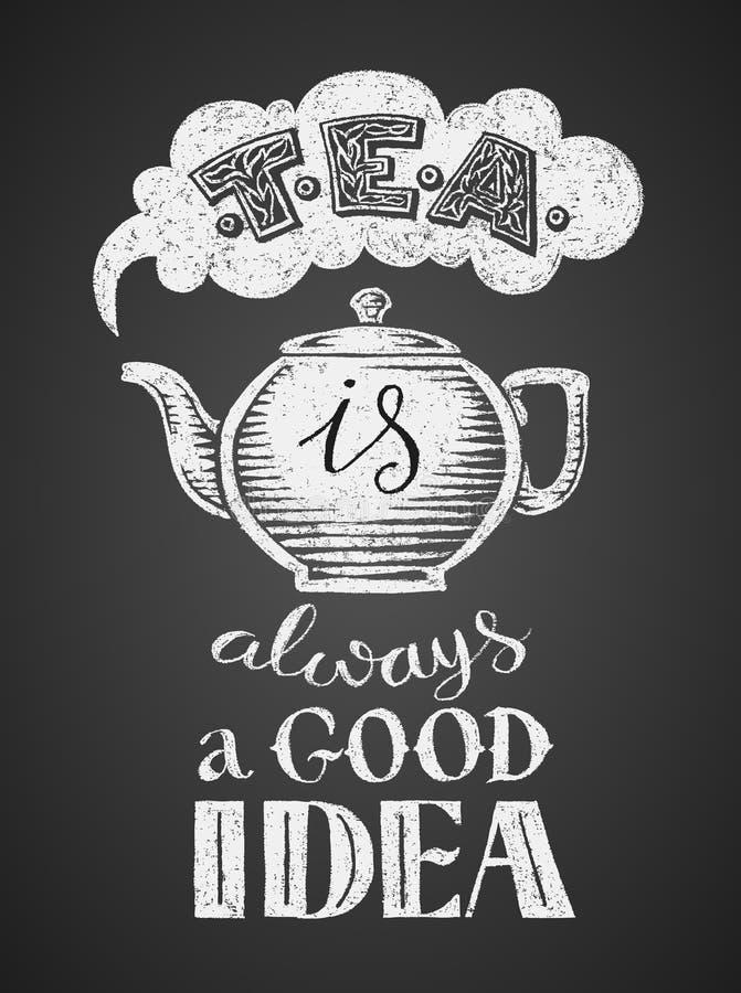 黑色热茶 向量例证