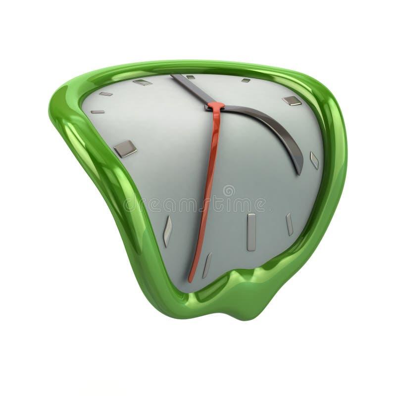绿色熔化的时钟 皇族释放例证