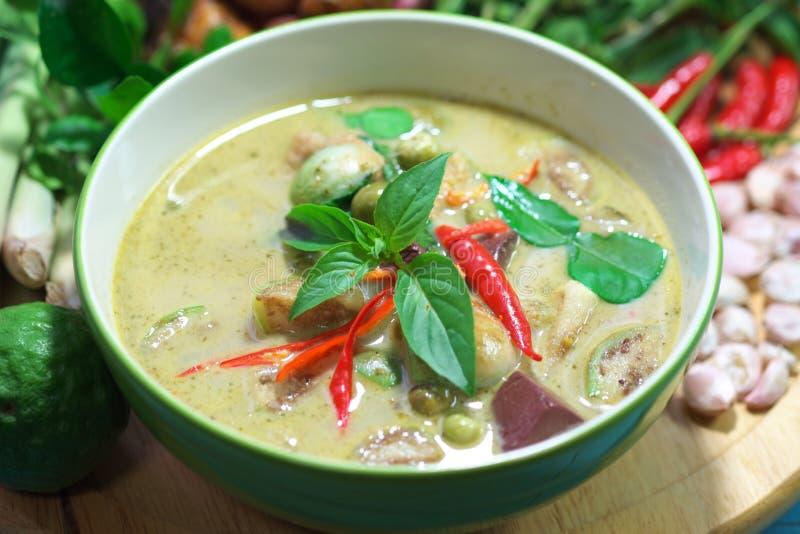 绿色猪肉咖喱泰国烹调 免版税库存照片