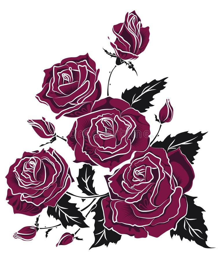 紫色玫瑰花束纹身花刺剪影 花卉三角构成 库存例证
