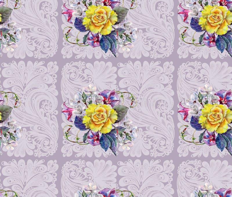 黄色玫瑰,花樱桃,花束,水彩,仿造无缝 向量例证
