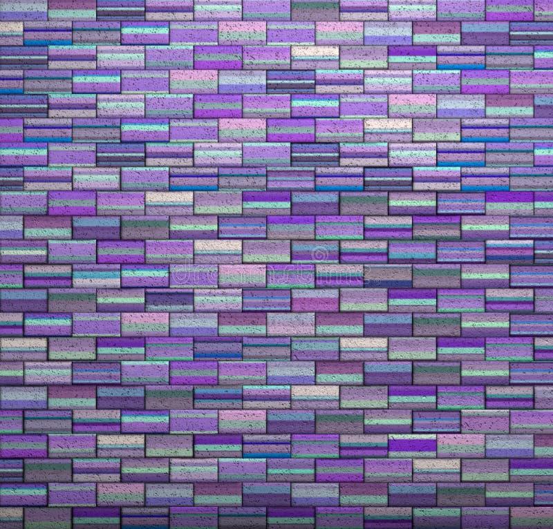 紫色瓦片马赛克墙壁地板难看的东西石头3d回报 向量例证