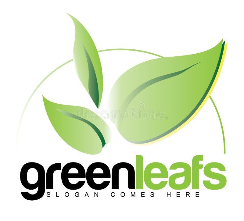 绿色生叶商标概念 向量例证