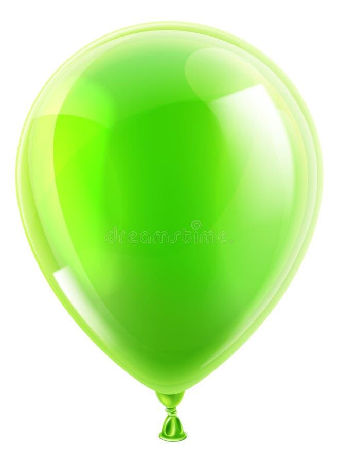 绿色生日或党气球 皇族释放例证