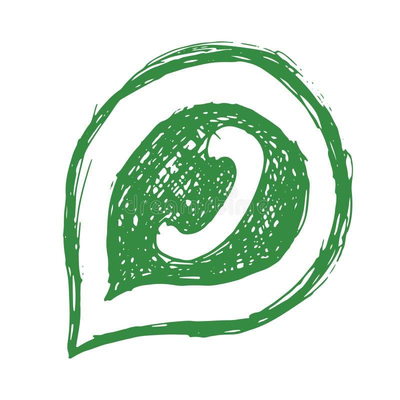 绿色电话在讲话泡影手拉的象,在白色背景隔绝的传染媒介例证排字了 向量例证
