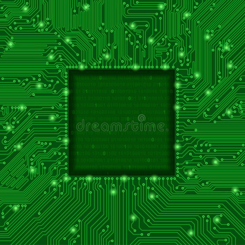 绿色电路板框架 向量例证