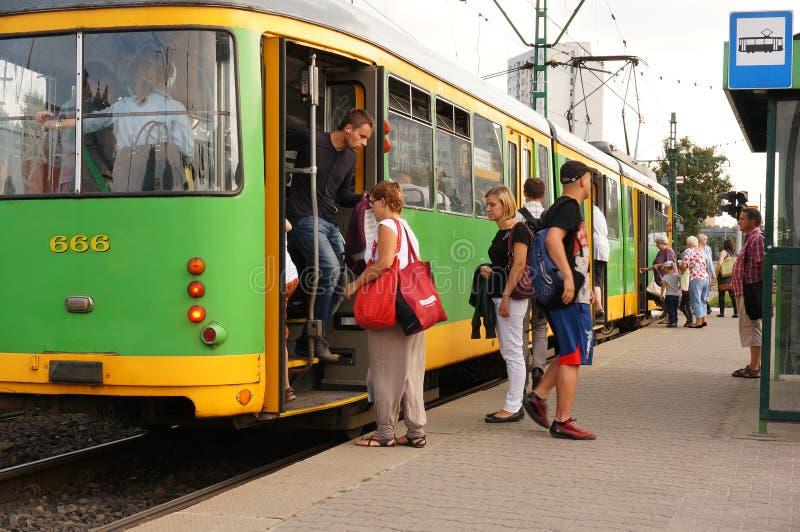 绿色电车 免版税库存照片