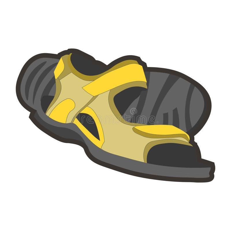 黄色男性凉鞋 向量例证