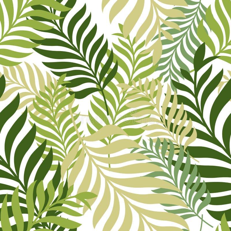绿色留下棕榈树 模式无缝的向量 有机的自然 向量例证