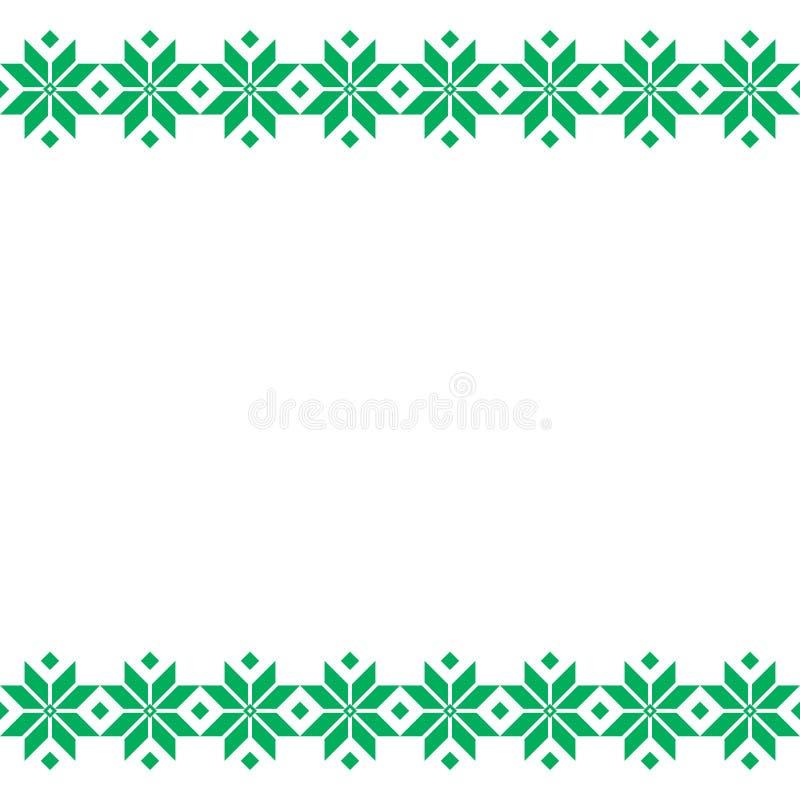 绿色白俄罗斯人神圣的种族装饰品,无缝的样式 也corel凹道例证向量 斯洛文尼亚传统样式装饰品 库存图片