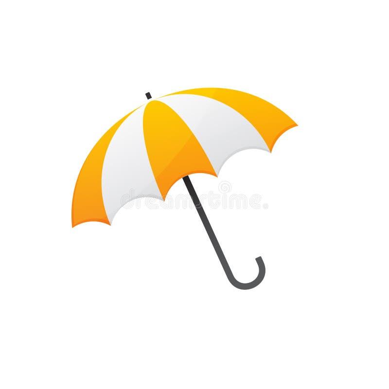 黄色白色伞 皇族释放例证