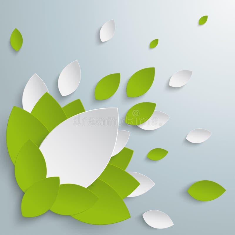 绿色白色留下花背景PiAd 库存例证