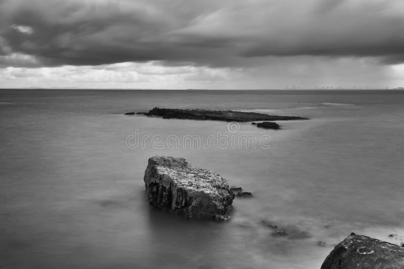 黑色白色 伍迪点海滩长的曝光  免版税库存照片