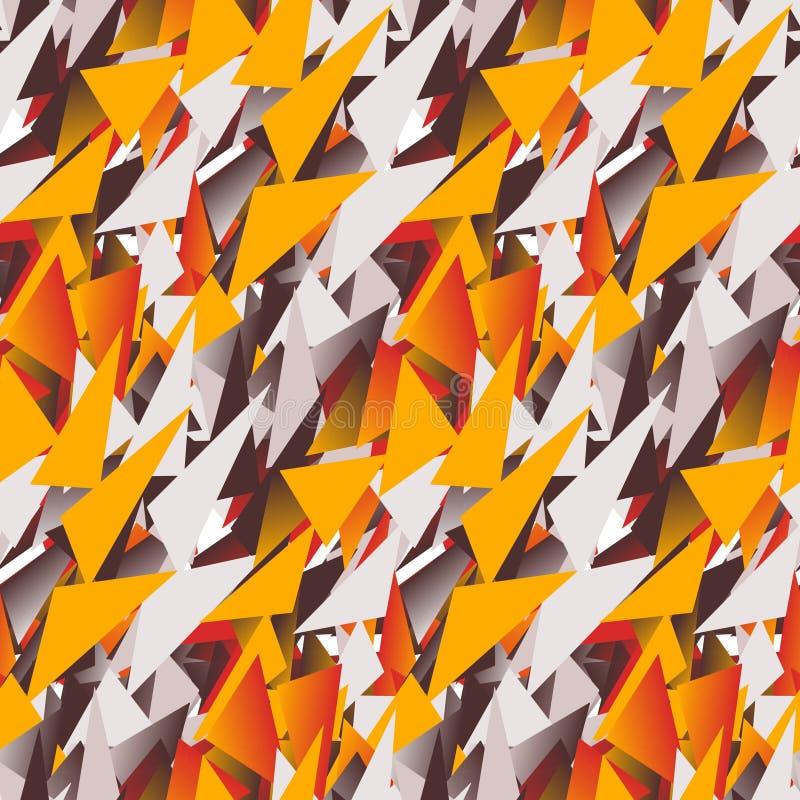 色的三角的纺织品无缝的样式在温暖的颜色的 皇族释放例证