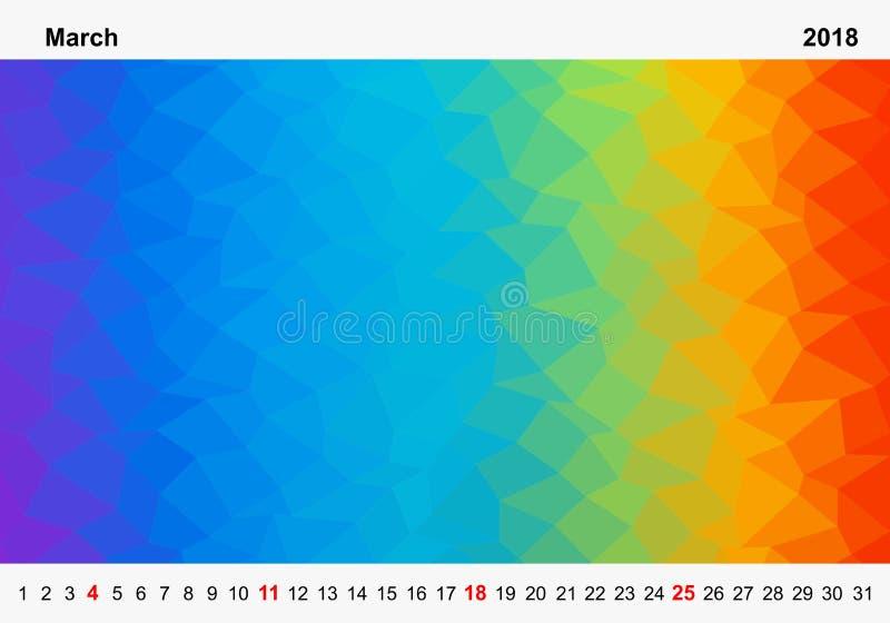 色的三角简单的颜色日历行军的年2018年 月在图片上下的名字和年数字与r 库存例证