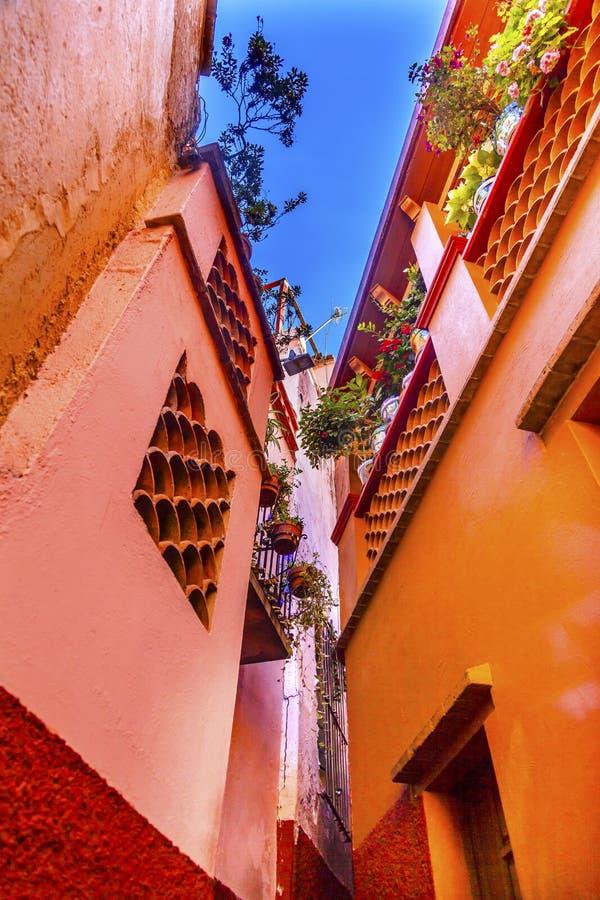 色的亲吻胡同安置瓜纳华托州墨西哥 库存图片
