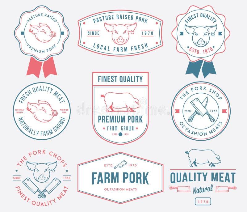 色的优质猪肉 库存例证