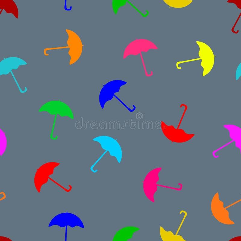 色的伞无缝的样式 皇族释放例证
