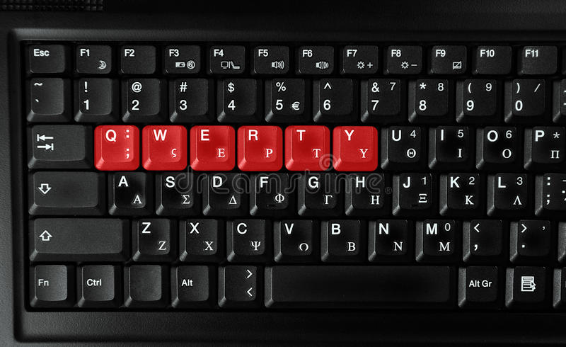 色的信函打字机键盘的红色 库存照片
