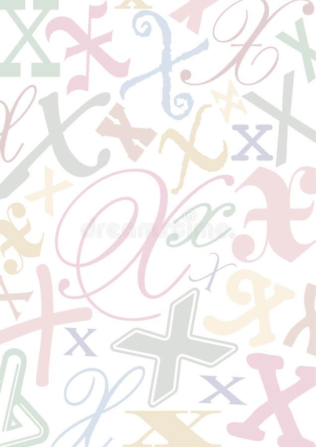 色的信函pastell x 向量例证