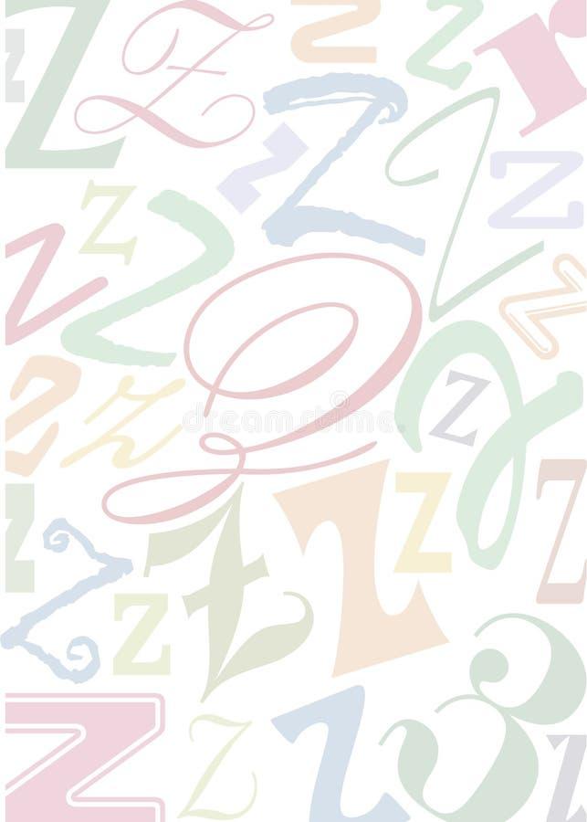 色的信函pastell z 库存例证