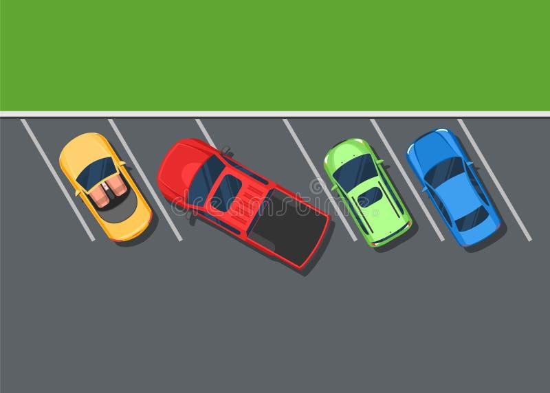 色的停放的汽车 坏停车处提取,顶视图 向量例证