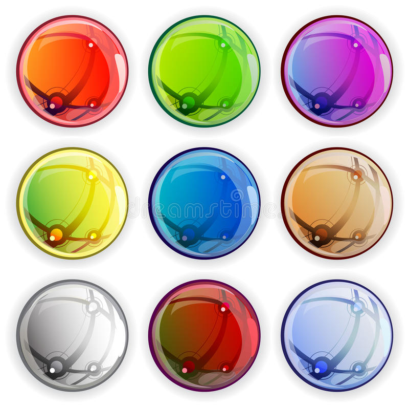 色的光滑的网按钮 皇族释放例证