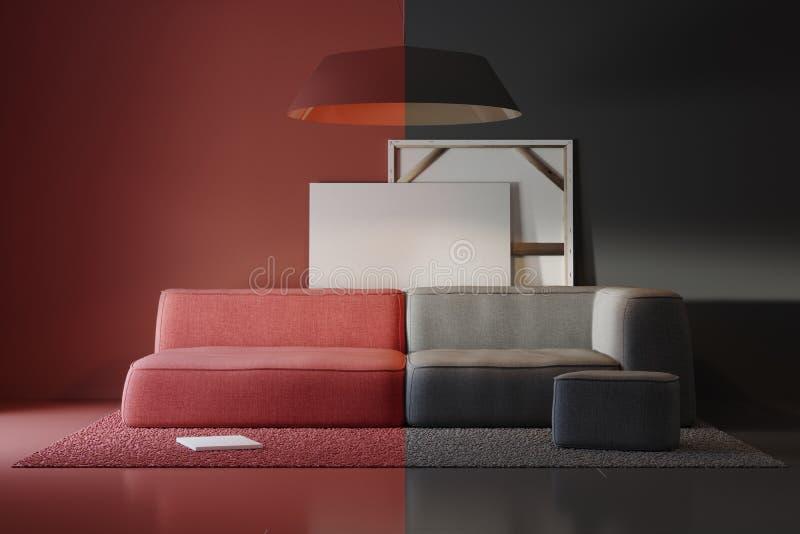 色的内部项目的构成在演播室 向量例证