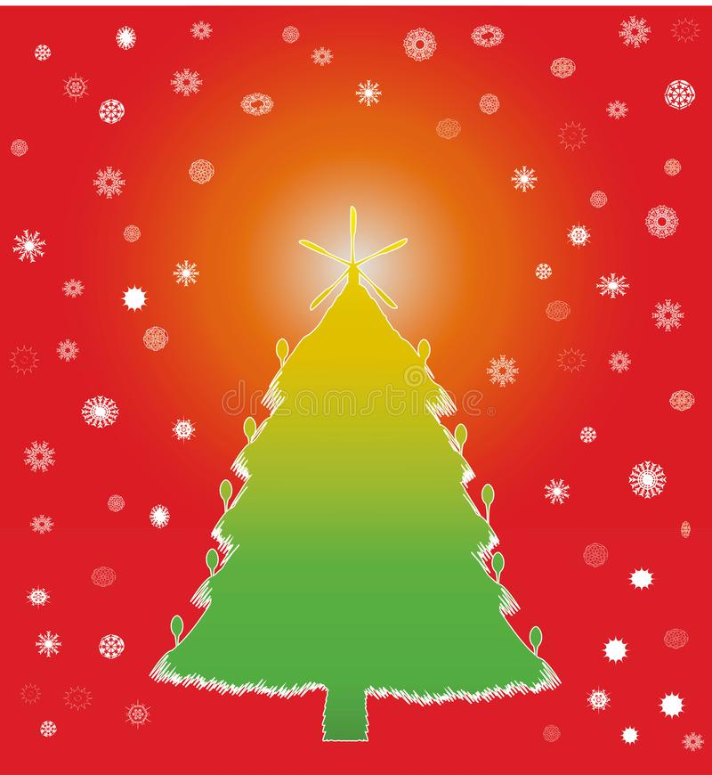 色的冬天圣诞树 库存例证