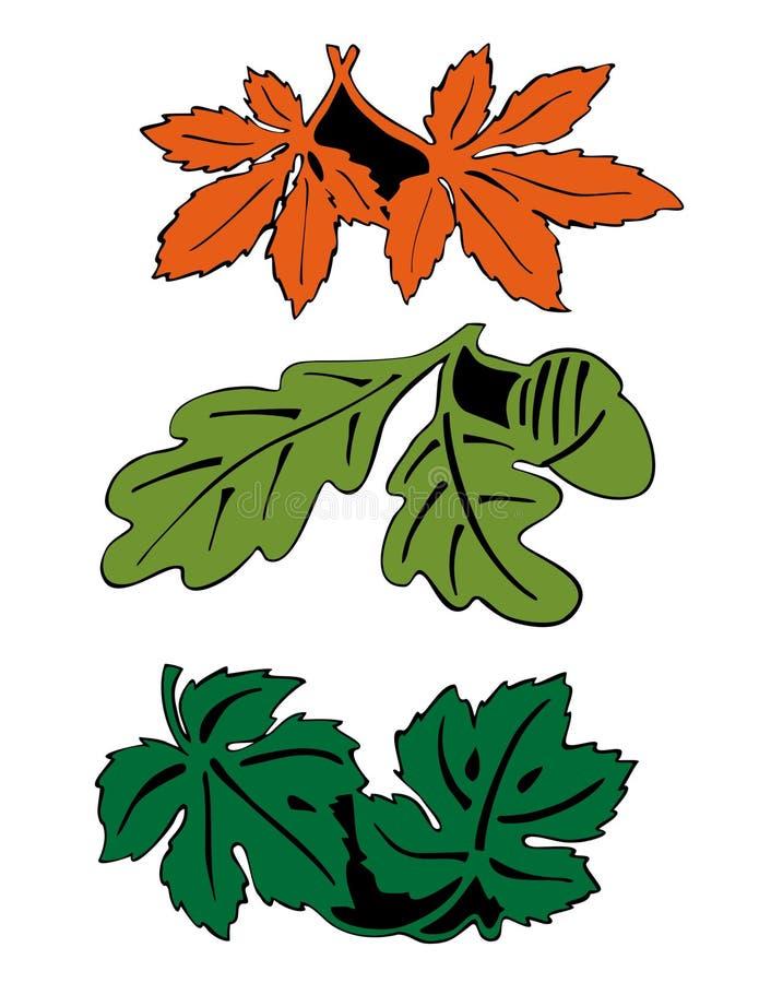 色的叶子对 向量例证