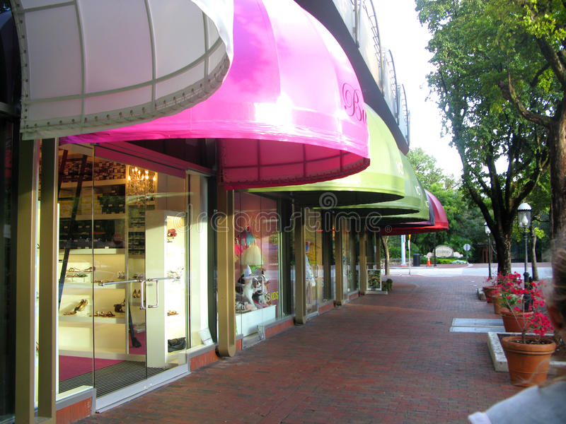 色的商店在椰子树丛里在佛罗里达 库存照片