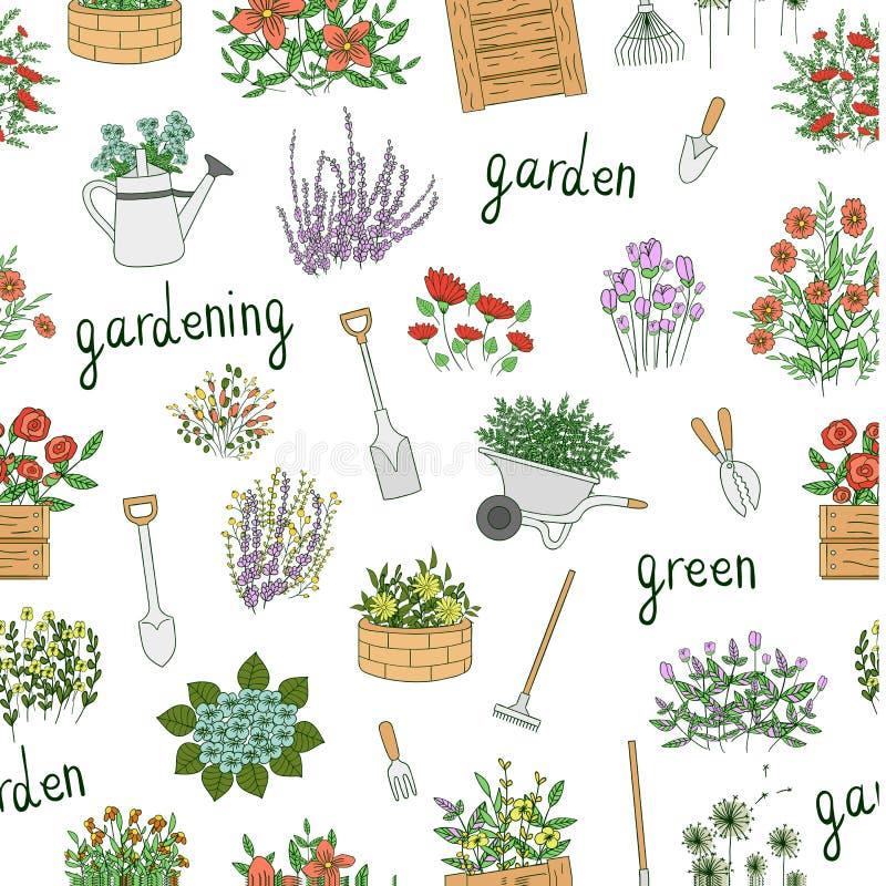 色的园艺工具的传染媒介无缝的样式 向量例证