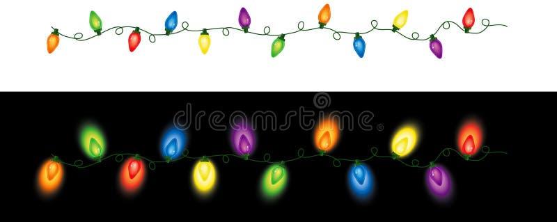 色的圣诞灯重复 向量例证
