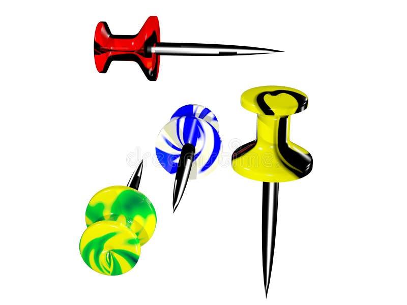 色的塑料图钉 向量例证