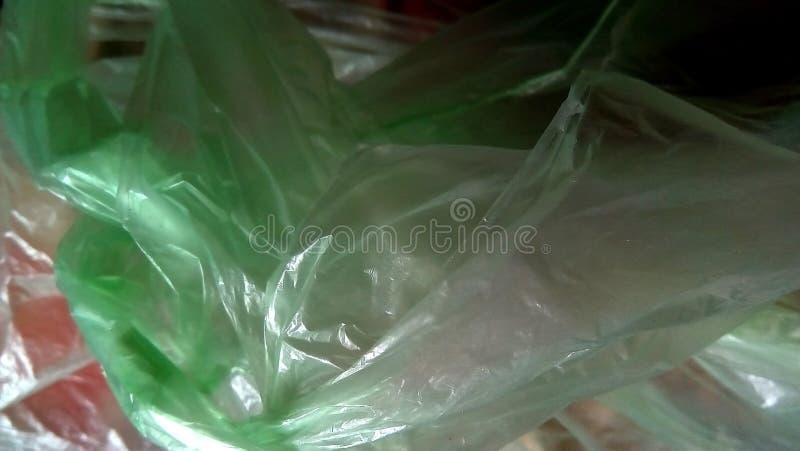 色的塑料袋特写镜头  抽象聚乙烯构成 库存图片