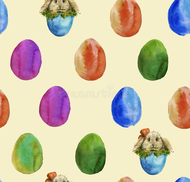 色的复活节彩蛋和鸡蛋的背景用兔子 W 向量例证