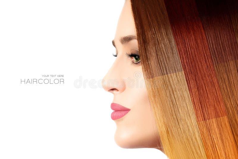 色的头发概念 与五颜六色的被染的头发的秀丽模型 免版税库存图片