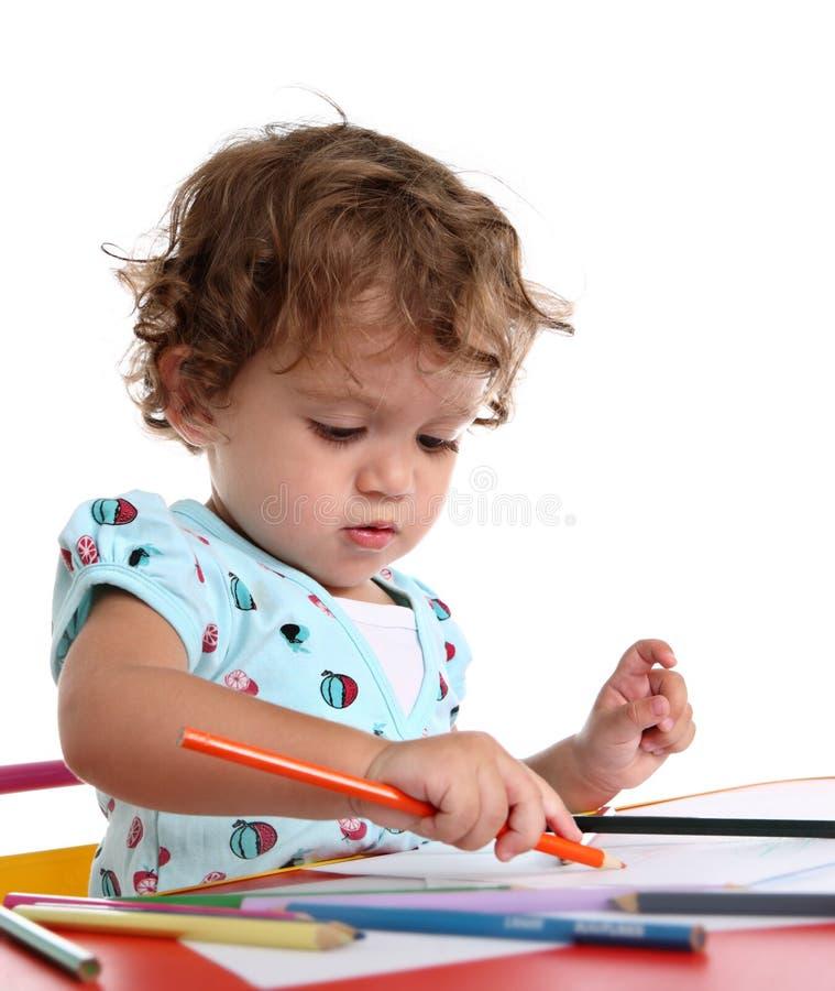 色的女孩小的铅笔 免版税图库摄影